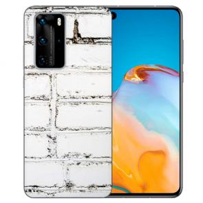 Huawei P40 Silikon TPU Handy Hülle mit Bilddruck Weiße Mauer Etui