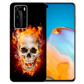 Silikon TPU Hülle für Huawei P40 Pro mit Fotodruck Totenschädel Feuer