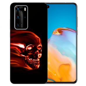 Silikon TPU Hülle mit Bilddruck Totenschädel für Huawei P40 Etui