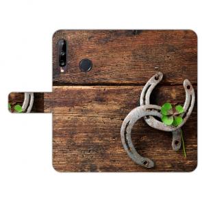 Huawei Y9 (2019) Handy Hülle mit Bild Druck Holz hufeisen Schutzhülle