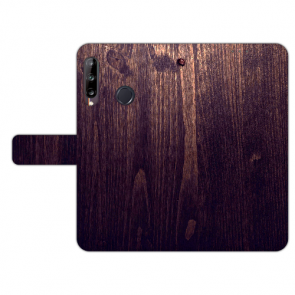 Huawei Y9 (2019) Handy Hülle mit Fotodruck HolzOptik Dunkelbraun
