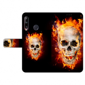 Huawei Y9 (2019) Handy Hülle mit Foto Druck Totenschädel Feuer