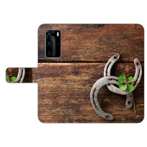Huawei P40 Handy Hülle Tasche mit Holz hufeisen Bilddruck Etui