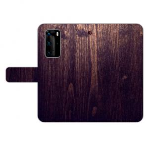 Huawei P40 Schutzhülle Handy Hülle mit Bilddruck HolzOptik Dunkelbraun