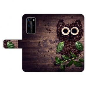 Huawei P40 Handy Hülle Tasche mit Kaffee Eule Bilddruck Etui
