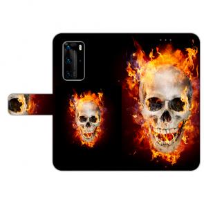 Huawei P40 Handy Hülle Tasche mit Bilddruck Totenschädel Feuer