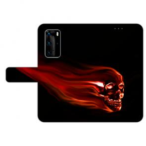Huawei P40 Handy Hülle Tasche mit Bilddruck Totenschädel Etui