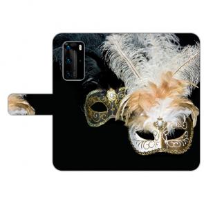Huawei P40 Handy Hülle Tasche mit Bilddruck Venedig Maske Etui