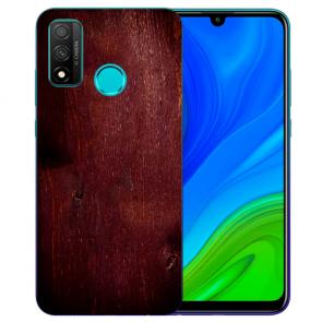 Huawei P Smart 2020 TPU Hülle mit Fotodruck HolzOptik Dunkelbraun Etui