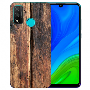 Huawei P Smart 2020 TPU Hülle mit Fotodruck HolzOptik Etui