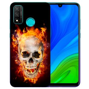 Huawei P Smart 2020 TPU Hülle mit Fotodruck Totenschädel Feuer Etui
