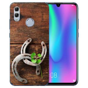 Huawei Honor 10 Lite Silikon TPU Hülle mit Bilddruck Holz hufeisen
