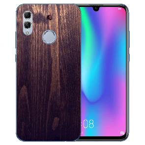 Huawei Honor 10 Lite Silikon TPU mit Bilddruck HolzOptik Dunkelbraun