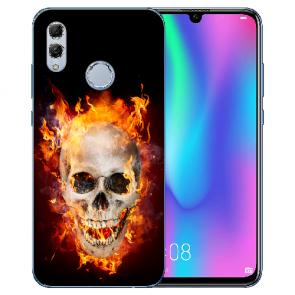 Huawei Honor 10 Lite Silikon TPU Hülle mit Bilddruck Totenschädel Feuer