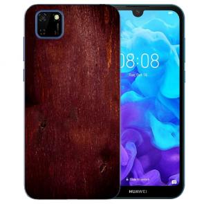 Huawei Y5P (2020) TPU Hülle mit Fotodruck HolzOptik Dunkelbraun Etui