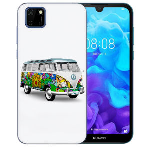 Huawei Y5P (2020) TPU Hülle mit Fotodruck Hippie Bus Etui