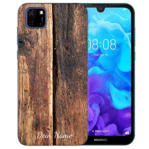 Huawei Y5P (2020) TPU Hülle mit Fotodruck HolzOptik Etui