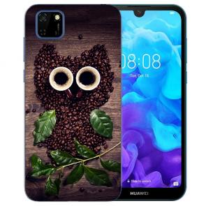 Huawei Y5P (2020) TPU Hülle mit Fotodruck Kaffee Eule Etui