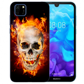 Huawei Y5P (2020) TPU Hülle mit Fotodruck Totenschädel Feuer Etui