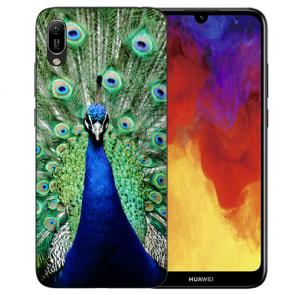 Huawei Y5 (2019) Silikon TPU Schutzhülle mit Pfau Bilddruck