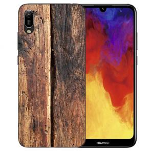 Silikon TPU Handy Hülle mit Bilddruck HolzOptik für Huawei Y6 (2019)