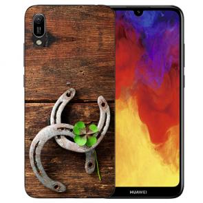 Huawei Y6 (2019) Silikon TPU Hülle mit Bilddruck Holz hufeisen Etui