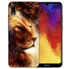 Huawei Y6 (2019) Silikon TPU Hülle mit Bilddruck LöwenKopf Porträt