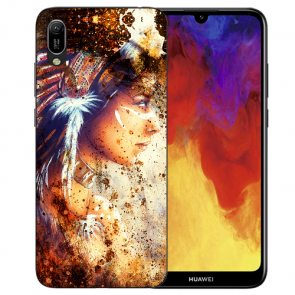 Huawei Y6 (2019) Silikon TPU Hülle mit Bilddruck Indianerin Porträt