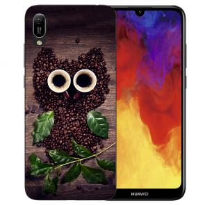 Huawei Y6 (2019) Silikon TPU Hülle mit Bilddruck Kaffee Eule Etui
