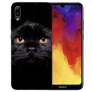 Huawei Y5 (2019) Silikon TPU Schutzhülle mit Schwarz Katze Bilddruck