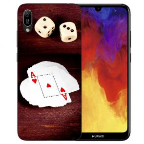 Huawei Y6 (2019) Silikon TPU Hülle mit Spielkarten-Würfel Bilddruck