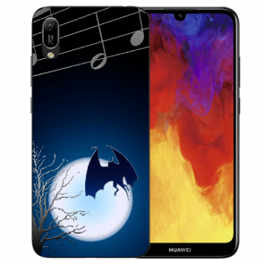 Huawei Y6 (2019) Silikon TPU Hülle mit Fledermaus-mond Bilddruck