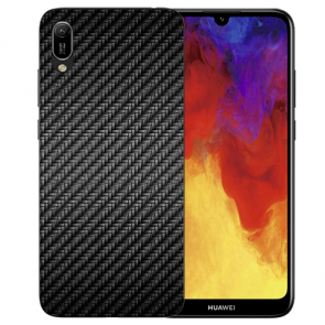 Huawei Y5 (2019) Silikon TPU Schutzhülle mit Carbon Optik Bilddruck