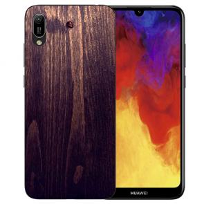 Huawei Y6 (2019) Silikon TPU Hülle mit Bilddruck HolzOptik Dunkelbraun