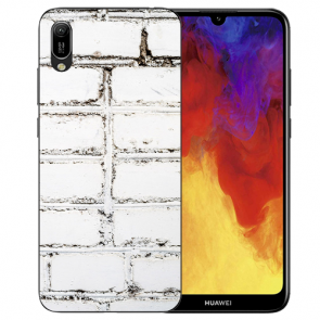 Huawei Y5 (2019) Silikon TPU Handy Hülle mit Bilddruck Weiße Mauer