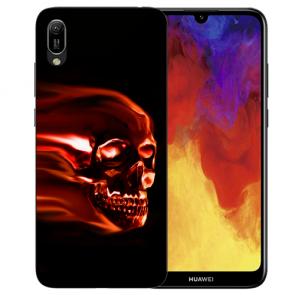 Huawei Y6 (2019) Silikon TPU Hülle mit Bilddruck Totenschädel Etui