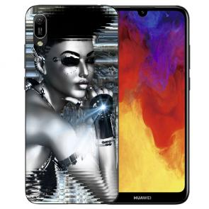 Huawei Y6 (2019) Silikon TPU Handy Hülle mit Bilddruck Robot Girl