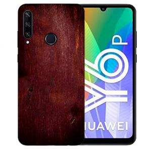 Huawei Y6P (2020) TPU Hülle mit Fotodruck HolzOptik Dunkelbraun Etui