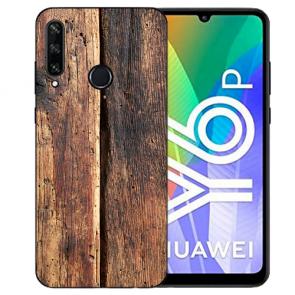 Huawei Y6P (2020) TPU Hülle mit Fotodruck HolzOptik Etui