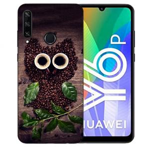 Huawei Y6P (2020) TPU Hülle mit Fotodruck Kaffee Eule Etui