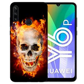 Huawei Y6P (2020) TPU Hülle mit Fotodruck Totenschädel Feuer Etui