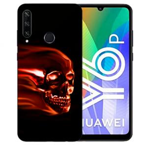Huawei Y6P (2020) TPU Hülle mit Fotodruck Totenschädel Etui