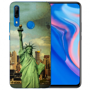 Huawei Y9 Prime 2019 Silikon TPU Hülle mit Freiheitsstatue Fotodruck