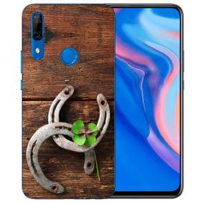 Silikon TPU mit Holz hufeisen Fotodruck für Huawei Y9 Prime 2019