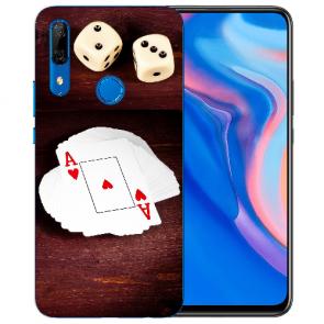 Huawei Y9 Prime 2019 Silikon TPU mit Spielkarten-Würfel Fotodruck