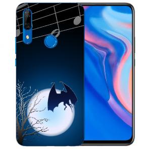 Huawei Y9 Prime 2019 Silikon TPU Hülle mit Fledermaus-mond Fotodruck