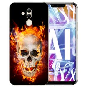 Huawei Mate 20 Lite Silikon TPU Hülle mit Bilddruck Totenschädel Feuer