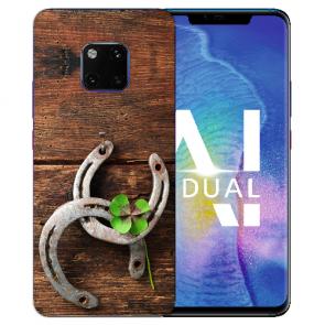 Huawei Mate 20 Pro Silikon TPU Hülle mit Holz hufeisen Bilddruck