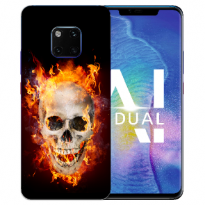 Huawei Mate 20 Pro Silikon TPU Hülle mit Totenschädel Feuer Bilddruck