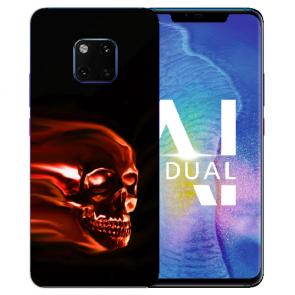 Huawei Mate 20 Pro Silikon TPU Hülle mit Totenschädel Bilddruck Etui